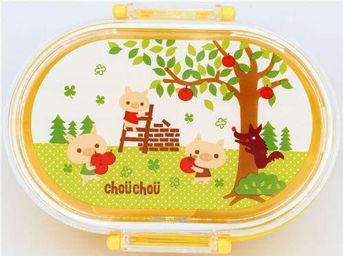 Yellow-Three-little-Pigs-Bento-Box-wolf-apple-Lunch-Box-78045-2