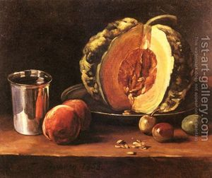 Still-Life-With-A-Pumpkin,-Peaches-And-A-Silver-Goblet-On-A-Table-Top