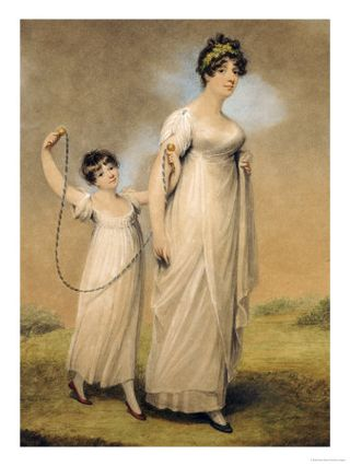 Adam-buck-portrait-of-a-mother-and-her-daughter-in-white-dresses-the-daughter-with-a-skipping-rope