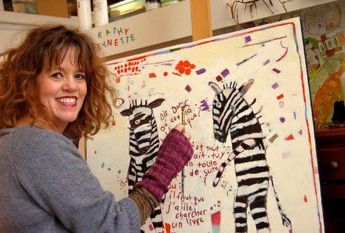 Kathy paints zebras