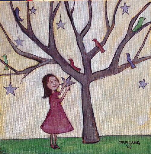 Girl with Birds & Stars