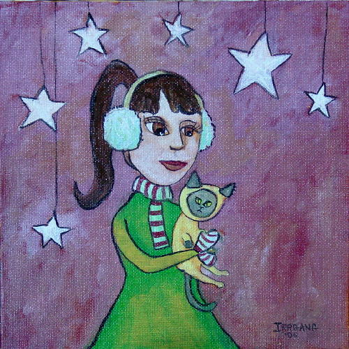 Girl with Cat Stars Pink Big
